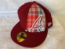 Atlanta Braves Plaid New Era 59Fifty  Fitted 7 1/2 Burgundy Wool Cap Hat MLB