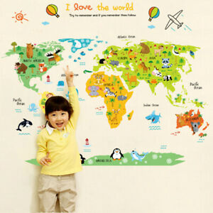REMOVABLE MAP OF WORLD ANIMALS ZOO WALL STICKER  BABY KIDS CHILDREN  ROOM