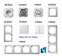 Gira System 55 Reinweiss glänzend Set Steckdosen Schalter Rahmen Paket 131 Teile