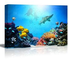 Canvas - Coral Reef, Colorful Fish Groups, Sharks and Sunny Sky Shining- 24 x 36