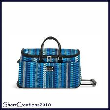 NWT Vera Bradley Rolling Duffel Travel Bag in Cha-Cha Blue MSRP $220 #180215-078