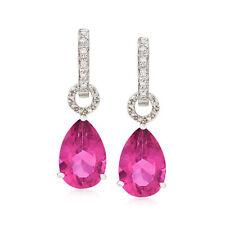 Topacio Rosa Con Aro Pendientes de Gota extraíble Acentos De Diamantes En Plata Esterlina