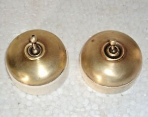 2 Pc. VINTAGE ELECTRIC SWITCH BRASS & CERAMIC VITREOUS COLLECTIBLE & DECOR 002