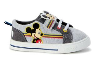 Disney Mickey Mouse Casual comfy gray Strap Shoe Toddler Boys NEW size 7 8 10 11