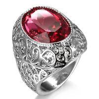 Noble Jewelry Fashion 925 silver Ruby zircon wedding rings for women size6-10