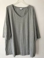 NEW PURE J. JILL 1X 2X 3X 4X V-neck Tunic Pockets 3/4 Slv Pima Cotton/Modal Gray