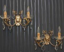 Französische Wand Lampen Leuchten Messing Wall Sconces Brass Crystal Ornate 1950