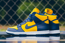 850477-700 Nike Men Dunk High Retro QS Sz 10 Michigan Yellow Varsity Maize Navy