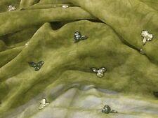 """Green Die Dye Rayon Silk Chiffon W/Beads Fabric 45"""" Wide 1 Yd"""