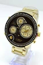 "Gold Black Round Big 3 Time Zone NY London Men's Big 2.1""Watch."
