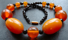 vintage art deco BIG chunky faux amber bakelite french jet black bead necklace 9