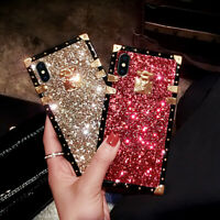 Bling Glitter Luxury Metal Square Case Cover For iPhone 12 11 Pro XS Max XR 7 8