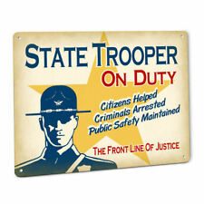 State Trooper SIGN in Smokey Bear Hat Badge Uniform Vintage male Cop Law Officer