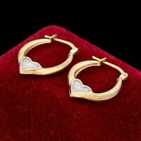 Antique Vintage Mid Century 10k Gold Filled GF Sterling Silver Heart Earrings 1g