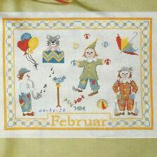 Stickvorlage * Februar * Monatsbild Motive Karneval Clowns Kreuzstich