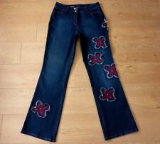 Michele Exclusive Floral Bootcut Blue Jeans Size UK 14