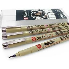 Sakura Pigma Micron – Pigment Fineliner Pens – Manga Wallet of 4 – Sepia