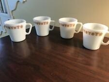 """Vintage PYREX for CORELLE ~  BUTTERFLY GOLD 3 3/8""""  Mugs Set of 4 EUC"""