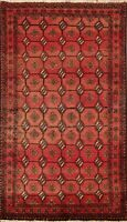 Vintage Tribal Geometric Oriental Balouch Area Rug Hand-Knotted Wool Carpet 3x6