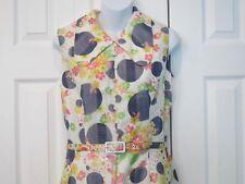Vintage 1960s Mam'selle Canada Sleeveless Floral Polkadot Rockabilly Dress 14