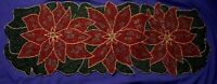 "Beaded Poinsettia Holiday Table Runner Red ,Green & Gold 34"" X 12"""
