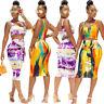 Women Sleeveless Tie-dyed Print Bodycon Club Party Casual Dress Skirts Set 2pcs