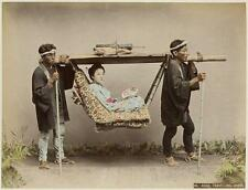 Photo. ca 1894. Chinese Coolies Transporting Wealthy Woman