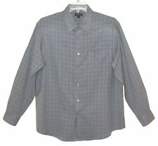 Sz L 42-44 LS Button Front Shirt GEORGE Light Gray Small Plaid 100% Poly Cleaned