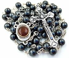 Hematite Rosary Beads Necklace with Jerusalem Soil & Catholic Cross in Gift Box