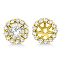 14K Yellow Gold SI2/G White Diamond Halo Solitaire Stud Bridal Earrings Jackets
