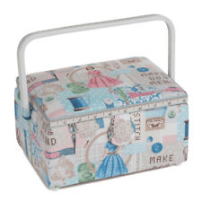 Sewing Box, PVC Handle, Make Do And Mend Design, 18 x 25 x 13cm