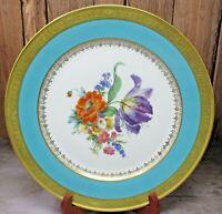 "Antique HUTSCHENREUTHER SELB LHS Floral 22k GOLD ZODIAC Rimmed 10 3/4"" Plate"
