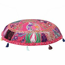 """Pink Indian Ethnic Round Patchwork Embroidered Cotton 22"""" Floor Cushion Cover"""