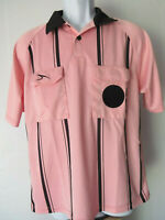 vtg AS A.S. PINK STRIPED BOWLING SHIRT (GOLF?) men's  L Large felt velcro dot