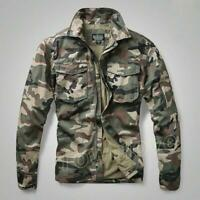 Mens camouflage Military Combat Casual Jacket Outdoor Pockets Shirts Tops Coats