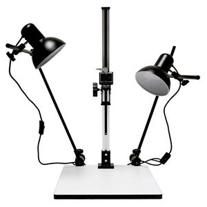 """28"""" Inch High Copy Macro Stand 15.57""""x 19""""inch Base,Quick Release Mount + Lights"""