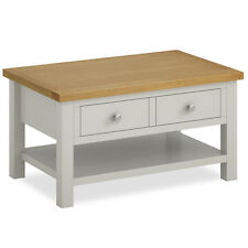 Farrow Grey Coffee Table / Painted Lounge Table with Drawers / Solid Wood / Oak