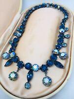 Vintage Blue & Aurora Borealis Rhinestone Festoon Dangle Necklace