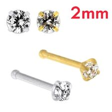 20G-0.8 mm 316L Surgical Steel 7 mm Long Round CZ Stone Nose Bone Stud Piercing