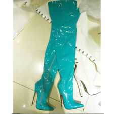 UK Women 18cm Extreme High Metal Heel Stiletto Side Zip Sexy Over the Knee Boots