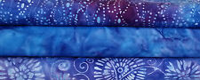 Batik Stashbuilder Set RI - 3 Blue & Purple Tone Fat Quarters