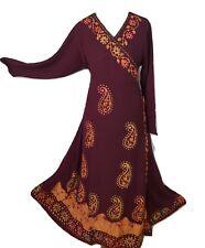 Boho Hand  Embroidered Maxi Full Sleeve Batik Wrap Dress One Size 14 16 18 20