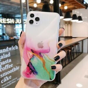 For iPhone 12 Mini 12 Pro Max 11 XS XR X 8 7 Watercolor Marble Soft Case Cover