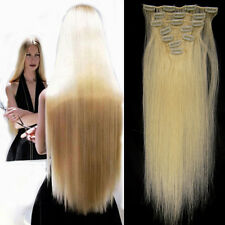 "15"" 7PCS Clip In Remy Human Hair Extensions Full Head Straight White Blonde #60"