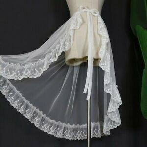 Lace Lady Ruffles Wrap Skirt Mesh Sheer Sarong Transparent Asymmetric Slit Fairy
