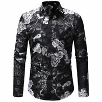 New Men's Luxury Floral Full Print Casual Slim Long Sleeve Button Down Shirt Top