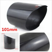 101mm Glossy Carbon Fiber Car Rear Exhaust Muffler Tail Pipe Tip Cover With Logo