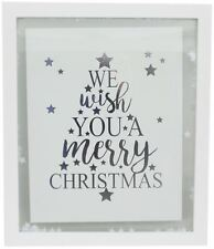 White Christmas Confetti Glass Plaque 27x32cm - We Wish You A Merry Christmas