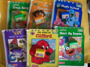 6 Fisher Price Power Touch Books & Cartridges Beginner Readers Dora Elmo Clues