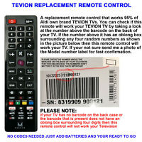 REPLACEMENT TEVION LCD/LED TV REMOTE CONTROL WORKS FOR ALL TEVION LCD/LED TVs